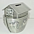 """Noah's Ark Piggy Bank """"Things Remembered"""" Silver Plated Metallic Ship Animals"""