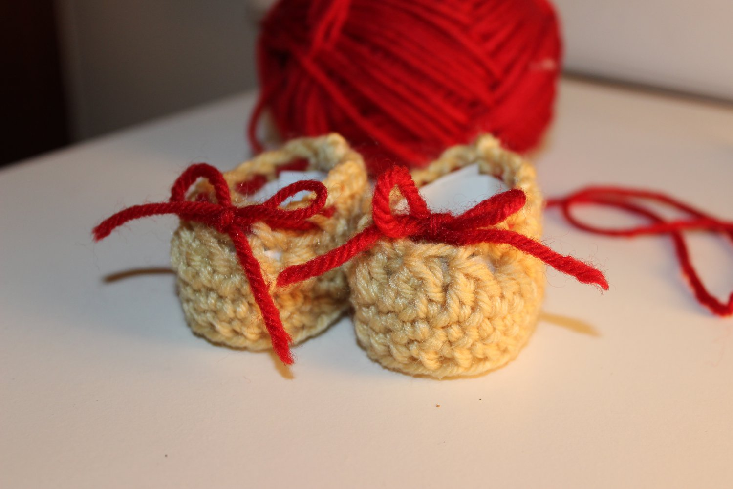 Beige, Red Bow Baby Booties