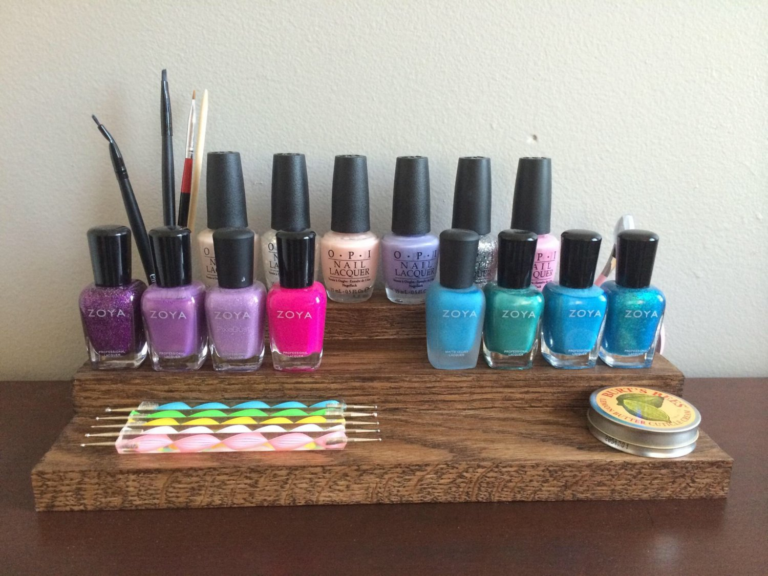 Table Top Wood Stained Nail Polish Rack Storage