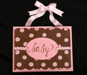 pink and chocolate mod dot plaque