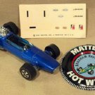 Hot Wheels 1969 Vintage Brabham Repco F1, Spectraflame Blue, With Metal Button and Decals