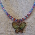 "Handcrafted, Artisan Jewelry Beaded Necklace, Madame Butterfly, 18"" Long"