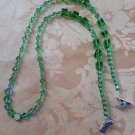 Handcrafted Eye Glass Holder, Green Crystal Theme Glass Beads