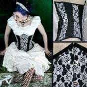 Sale! White & Black Silk Lace Corset