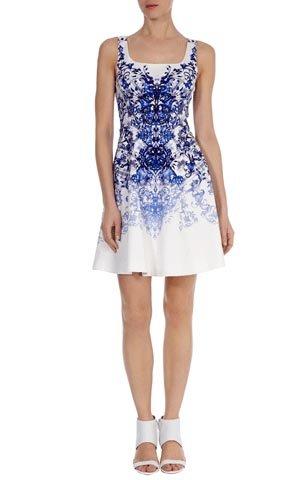 Cheap Karen Millen Printed A-line Dress Blue