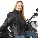 Diamond Plate™ Ladies' Solid Genuine Leather Motorcycle Jacket- MEDIUM- GFLADMJM