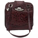 Embassy™ Burgundy Genuine Leather Purse with Silver Tone Hearts - LUPBUR02