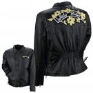 Diamond Plate™ Ladies' Solid Genuine Leather Motorcycle Jacket with Patches-LARGE-GFMCFLOL