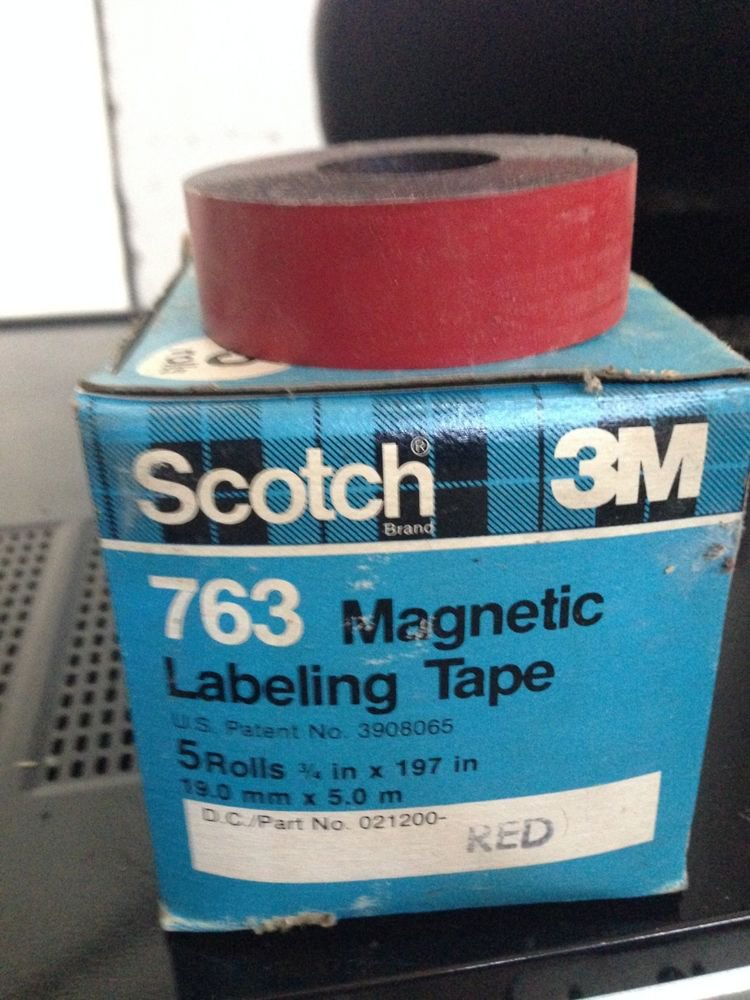 """*NEW* 5 ROLLS SCOTCH 3M 3/4"""" RED Magnetic Labeling Tape 763 Label Maker Roll"""