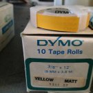 "DYMO 10 ROLL 3/8"" x 12' MATTE YELLOW Embossing Tape Label Magazine Maker Printer"