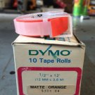 """10 Pack Dymo 1/2"""" x 12' MATTE ORANGE Embossing Tape Label Magazine Maker 2300"""