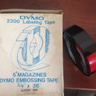 "5 Pack Dymo 3/4"" x 36' Glossy RED Embossing Tape Label Magazine Maker 2300 Sign"