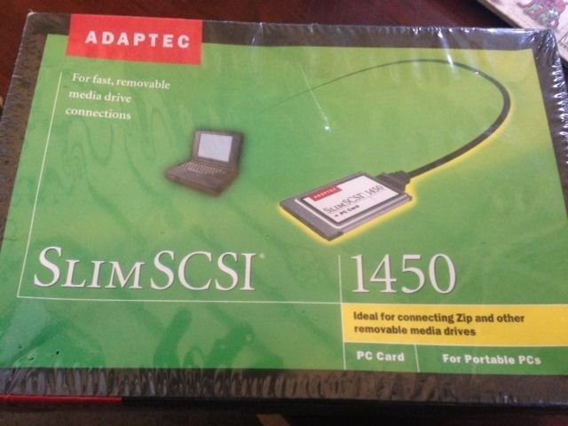 NEW Adaptec SlimSCSI 1450 PC Controller Card PCMCIA SCSI Adapter + Cable 50 PIN
