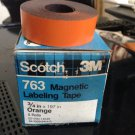 "*NEW* 5 ROLLS SCOTCH 3M 3/4"" ORANGE Magnetic Labeling Tape 763 Label Maker Roll"