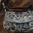 NEW Coach Blue Signature C Purse Handbag Pleated Large Flap Teal Aqua Bag