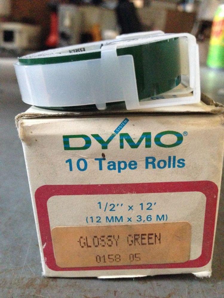 """10 Rolls Dymo 1/2"""" x 12' GLOSS GREEN Embossing Tape Label Magazine Maker Printer"""