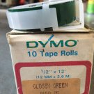 "10 Rolls Dymo 1/2"" x 12' GLOSS GREEN Embossing Tape Label Magazine Maker Printer"