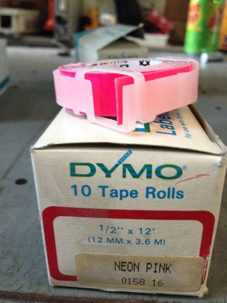 "10 Pack Dymo 1/2"" x 12' NEON PINK Embossing Tape Label Magazine Maker Printer"
