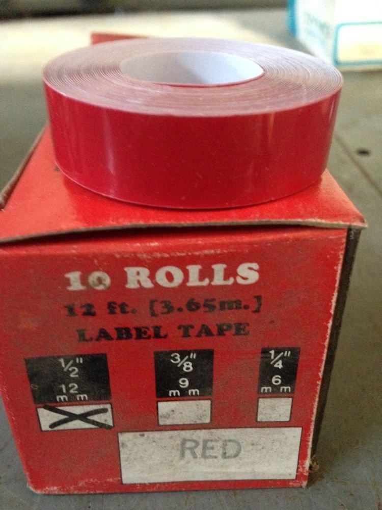 "10 Pack 1/2"" x 12' RED Embossing Tape Label Magazine Maker Printer 2300 Dymo"