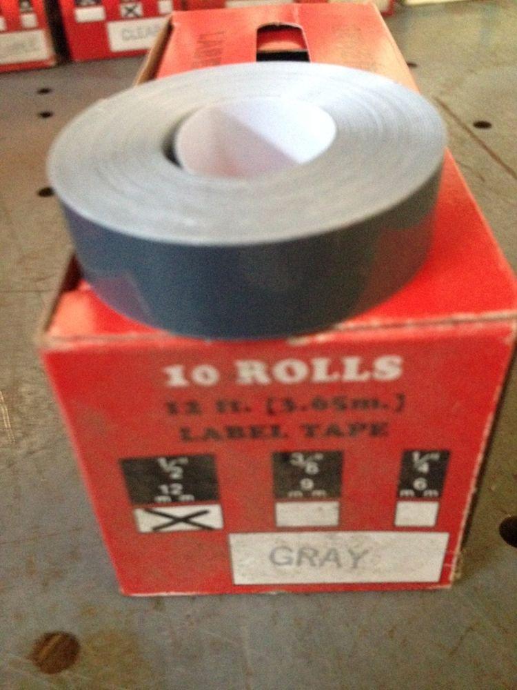 """10 Pack 1/2"""" x 12' GRAY Embossing Tape Label Magazine Maker Printer 2300 Dymo"""