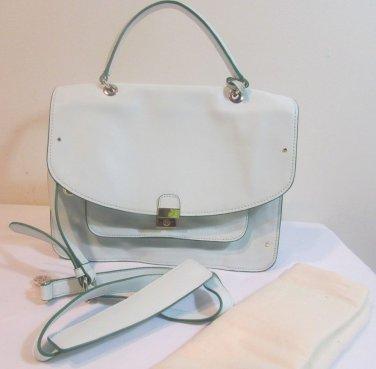 Tory Burch Satchel Priscilla Top Handle Crossbody Leather Bag Blue Stream