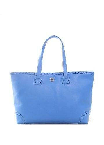 $550 Tory Burch Robinson Spectator E West Tote Ocean Breeze Blue Purse Leather