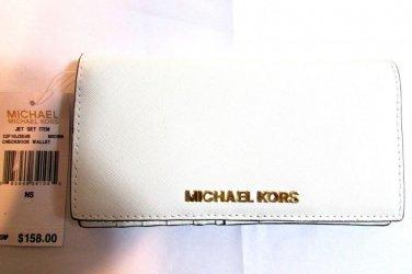 Michael Kors Jet Set Item Checkbook wallet signature PVC - White