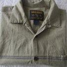 Mens Woolrich Short Sleeve Dress Shirt Button Front Gray Pattern Sz L