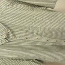 L. L. Bean 100% Cotton Shirt  Men's XL  XLT Olive Green Stripes MADE IN CANADA
