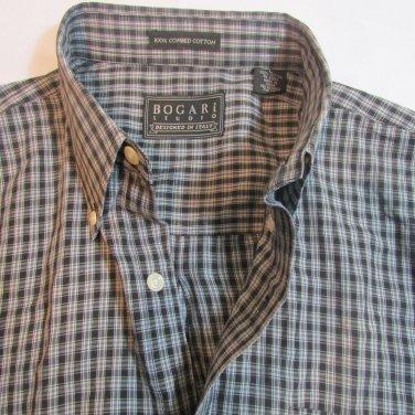 BOGARI DESIGNED IN ITALY MENS LARGE L GRAY PLAID L/S CASUAL  DRESS SHIRT
