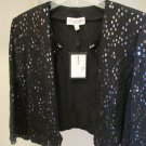 $1395 New St. John Size 12 Black Wool-blend Sequin Top