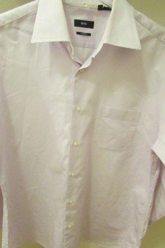 HUGO BOSS Light Lavender Striped Dress to Casual Shirt sz 17 32X33  AWESOME