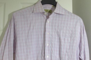 PAUL STUART Pink & Blue Stripes  Button Down Shirt - Size 15 1/2 34 Canada Made