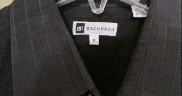 Bachrach Mens Button Front Black Check Cotton Dress Shirt Medium M