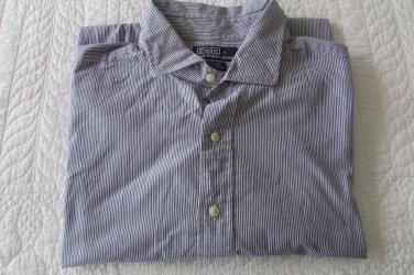 Polo Ralph Lauren LS Dress Shirt - Stripes - 18 XXL Custom Fit VERY NICE