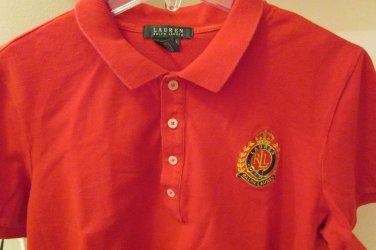 Mens Lauren Ralph Lauren RLL Embroidered Crest Polo Red Golf Shirt Cotton XL