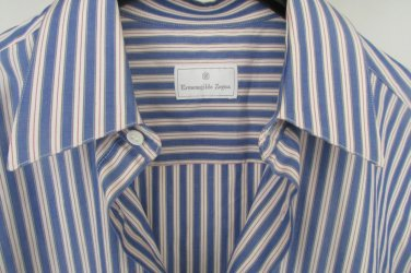 Mens Ermenegildo Zegna Stripes Dress Shirt  15 1/2 40 Made In Spain Superfine