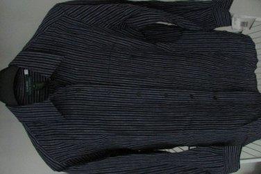 New Women Lauren Ralph Lauren 100% Linen Dress Shirt sz 10 Blue Stripes
