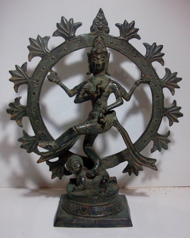 Vintage ! Lord SHIVA Shiwa Hindu GOD Old Bronze Statue Table Decor #r347