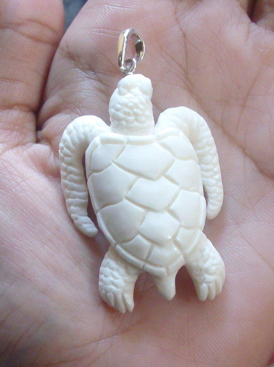 Bali Pendant Necklace TURTLE Double Side F/r Buffalo Bone Carving w/ Silver Bail 925 #r403