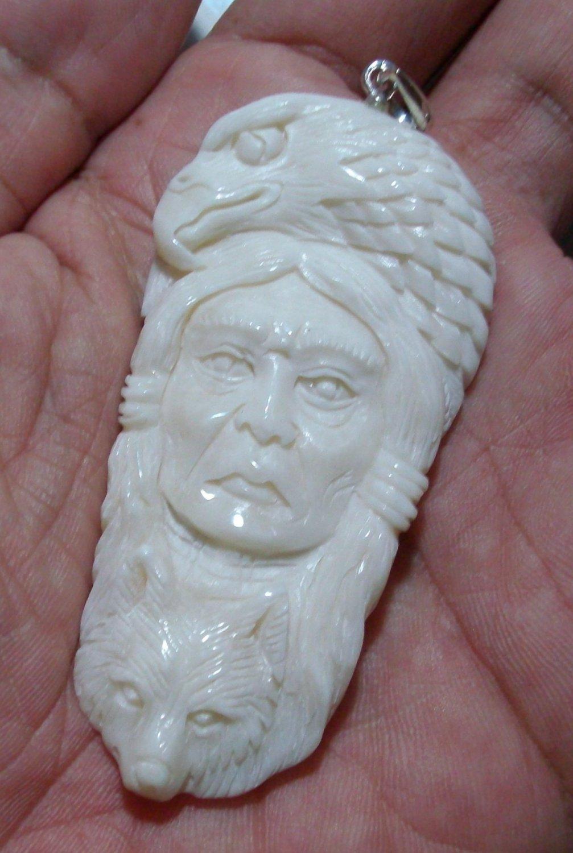 Bali Pendant Neckalce Indian Girl Eagle & Bear F/r Buffalo Bone Carving w/ Silver Bail 925_q704