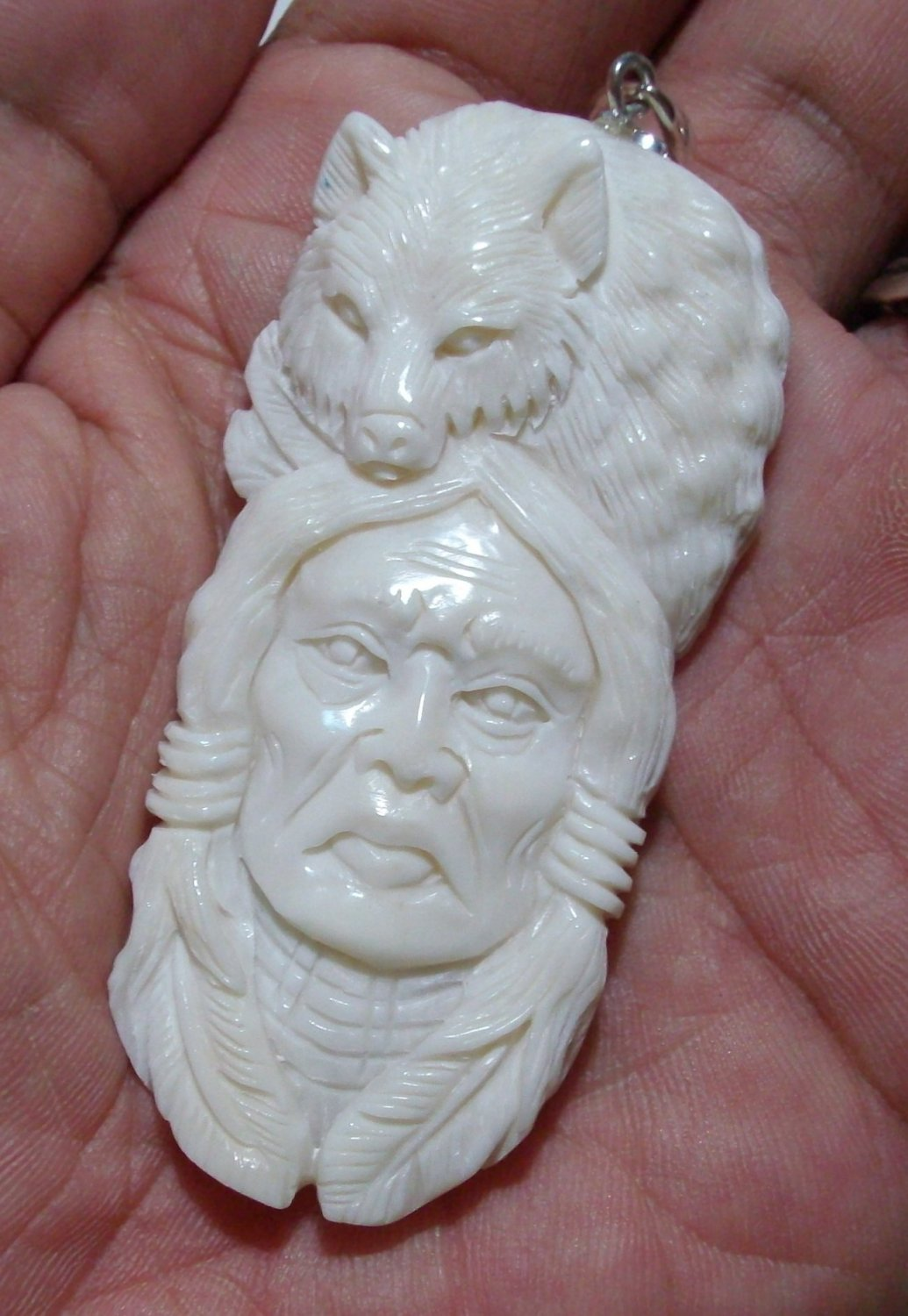 Bali Pendant Necklace Indian Face Wolf F/r Buffalo Bone Carving w/ Silver Bail_q703