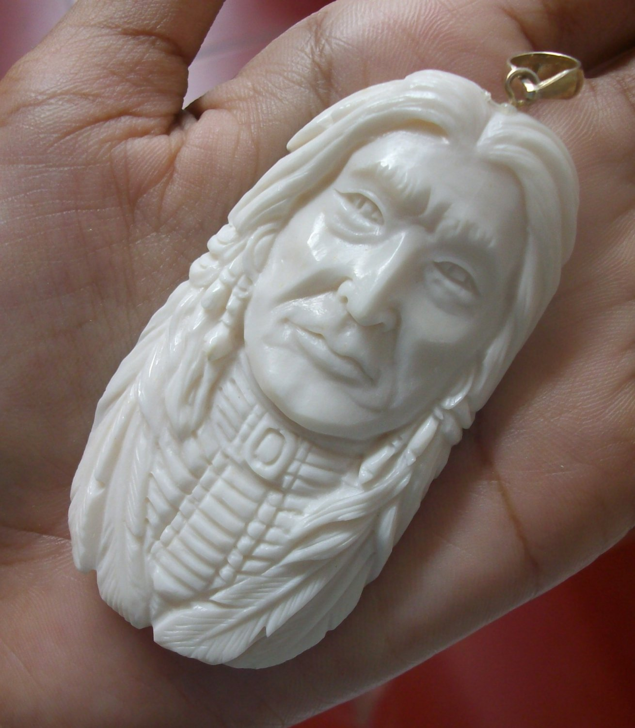 Bali Pendant Necklace INDIAN FACE Old From Buffalo Bone Carving With Silver Bail 925 #r169