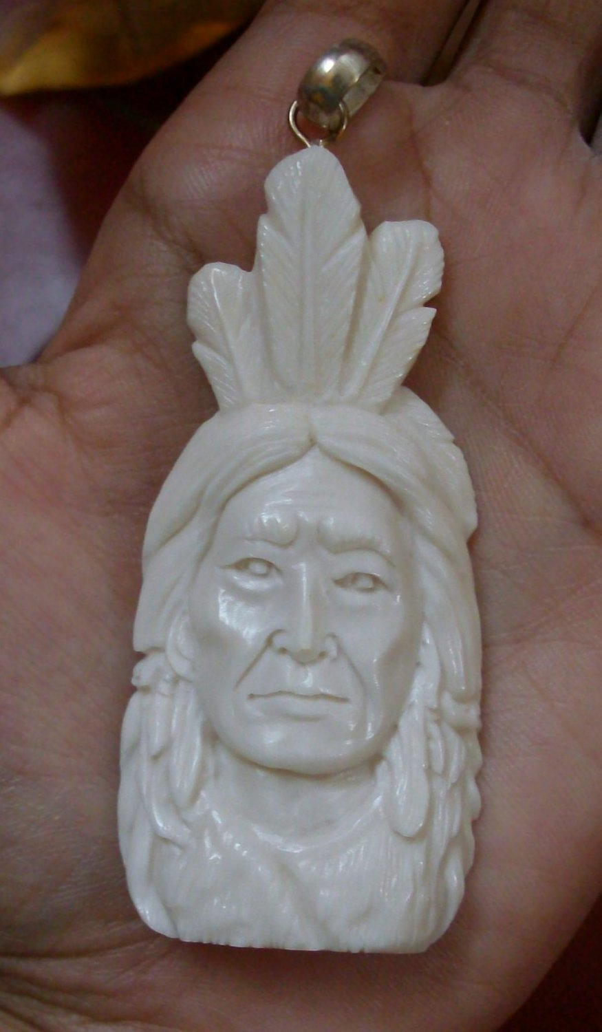 Bali Pendant Necklace INDIAN FACE Old From Buffalo Bone Carving With Silver Bail 925 #r151