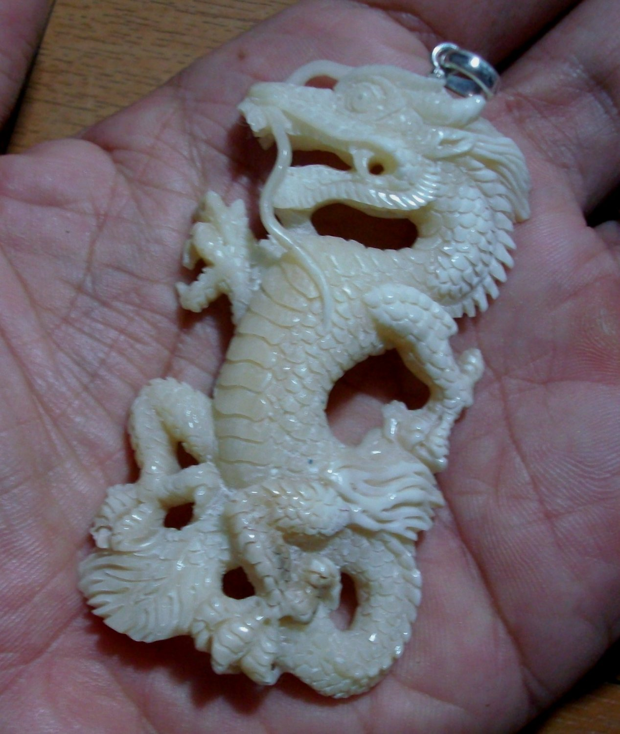 Bali Pendant Necklace China Dragon From Buffalo Bone Carving With Silver Bail 925 #q456