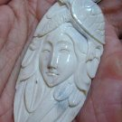 Bali Pendant Necklace INDIAN GIRL & TURTLE From Buffalo Bone Carving With Silver Bail 925 #q990