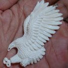 Bali Pendant Necklace Flying Eagle From Buffalo Bone Carving With Silver Bail 925 #q992