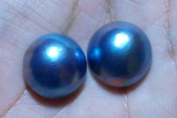 100% Genuine ! 2 PCS Mabe Pearl Half Pearl Cabochon South Sea Lustrous BLUE 15mm_q842