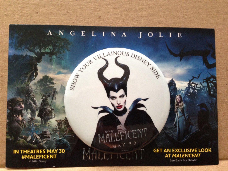 MALEFICENT MOVIE ANGELINA JOLIE Disney VILLAINOUS Side promo Button Pin DLR WDW