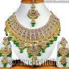 Jodha Akbar Jewelry Bollywood Kundan Jewellery Gold Tone Rich CZ Necklace Set JD11 Green Jewelry